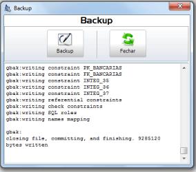 Exemplo de tela para backup