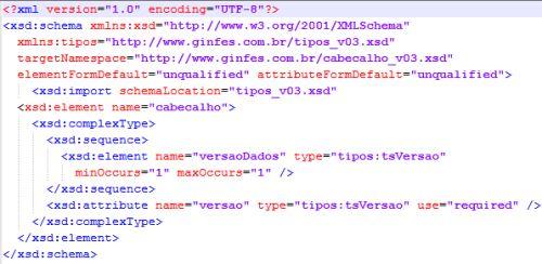Exemplo de arquivo XSD
