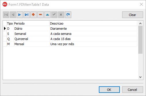 Janela de preenchimento de dados do TFDMemTable em design-time