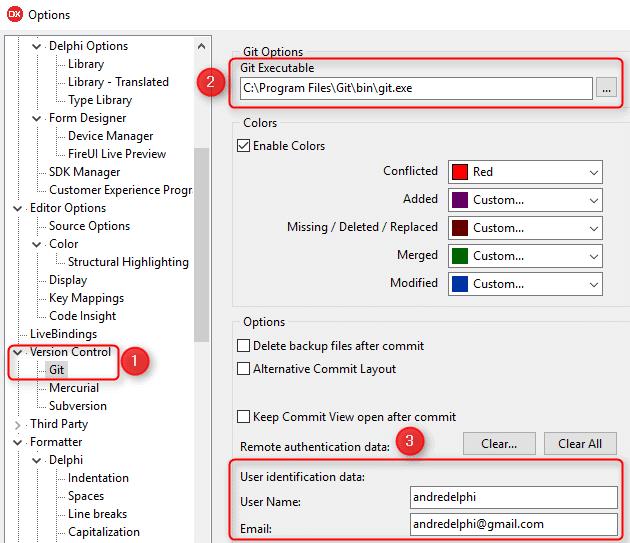 Configuração do Git e credenciais nas opções do Delphi