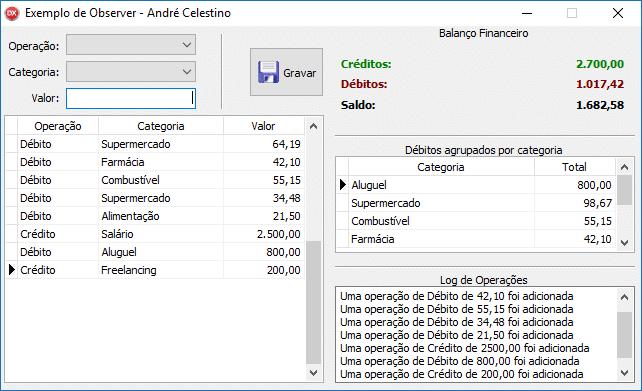 Exemplo de aplicação utilizando o padrão de projeto Observer