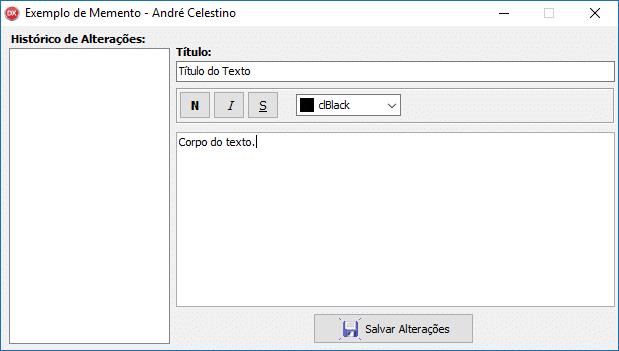 Editor de textos para exemplificar a aplicação do Design Pattern Memento