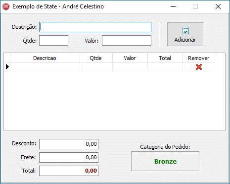 Exemplo de formulário para aplicação do Design Pattern State
