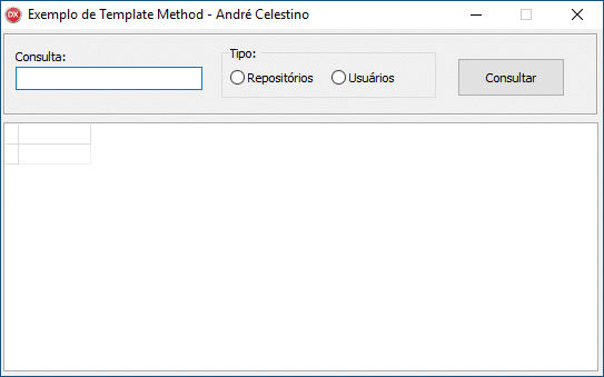 Formulário de exemplo para uso do Template Method